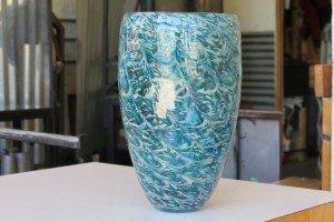Aqua Blue Butterfly Wing Vase